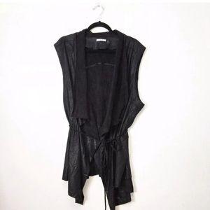 Dex Black Coated Faux Suede Drapey Vest